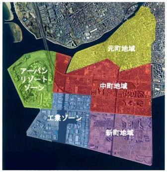 浦浦安市は元町地域、中町地域、新町地域、アーバンリゾートゾーン、工業ゾーンという5つの特徴あるゾーンで構成されている(同市提供)
