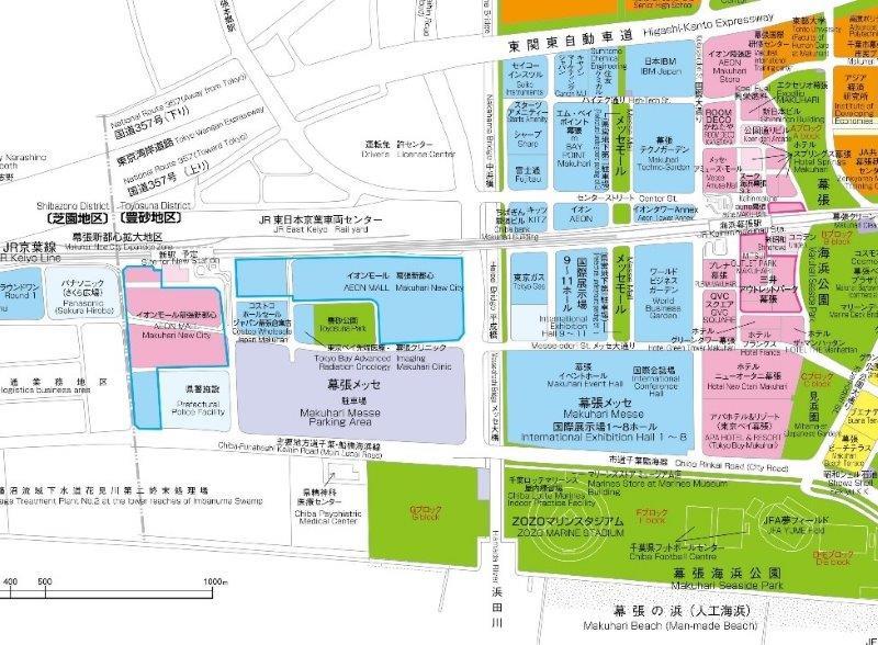 浜田川より西側が拡大地区(「幕張新都心オフィシャルガイド2021」より)